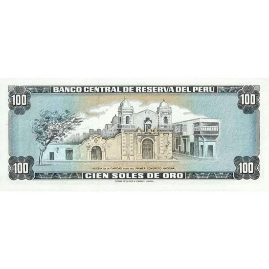 1975 - Peru P108 100 Soles Oro banknote