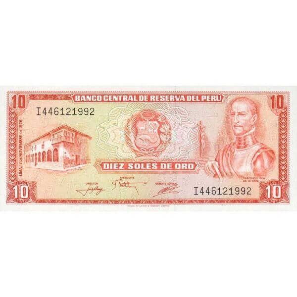 1976 - Perú P112 billete de 10 Soles Oro