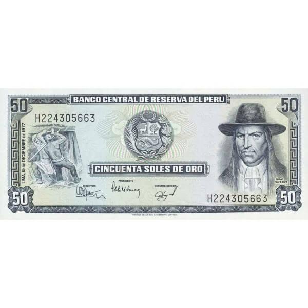 1977 - Perú P113 billete de 50 Soles Oro