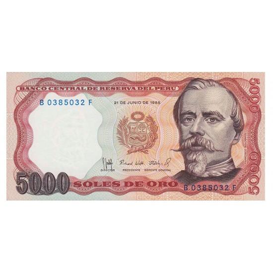 1985 - Peru P117c 5,000 Soles Oro banknote