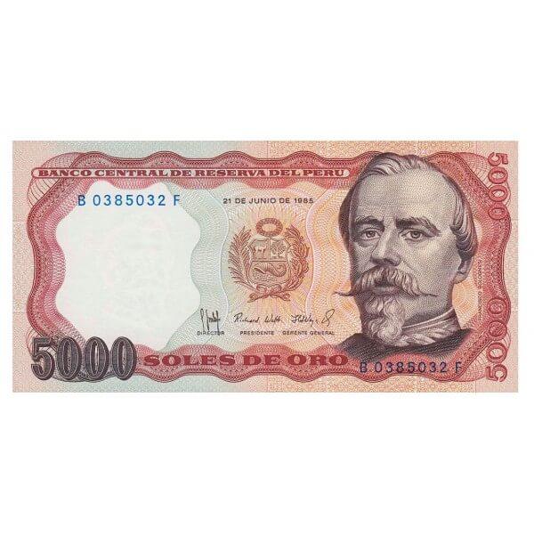 1985 - Perú P117c billete de 5.000 Soles Oro
