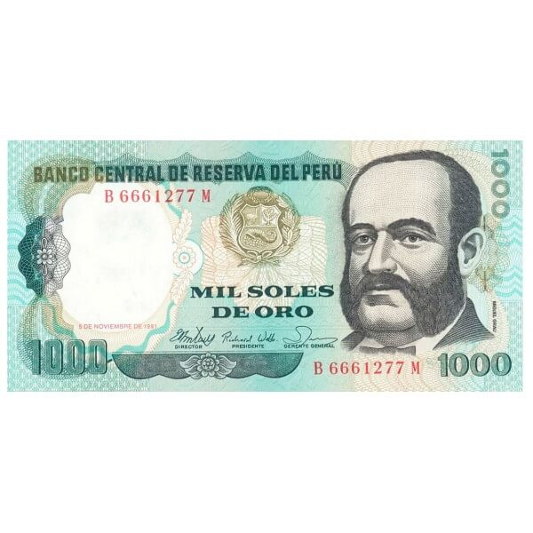 1981 - Perú P122a billete de 1.000 Soles Oro
