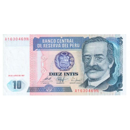 1987 - Peru P129 10 Intis banknote