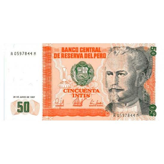 1987 - Peru P131b 50 Intis banknote