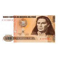 1987 - Peru P134b 500 Intis banknote