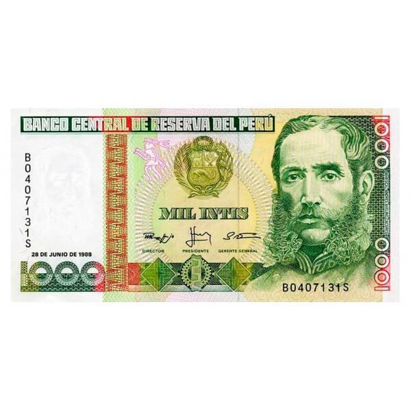 1988 - Perú P136b billete de 1.000 Intis