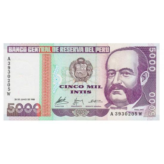 1988 - Peru P137 5,000 Intis  banknote