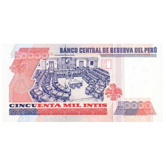 1988 - Peru P142 50,000 Intis  banknote
