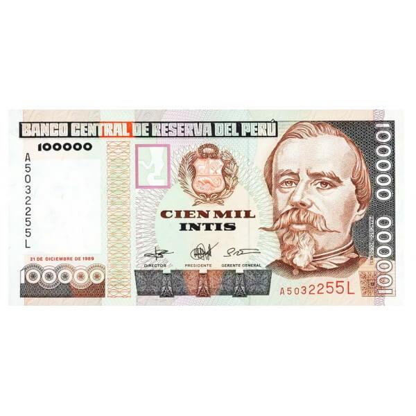 1989 - Perú P145 billete de 100.000 Intis