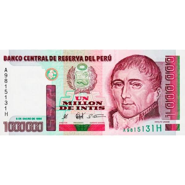 1990 - Peru P148a 1,000,000 Intis banknote