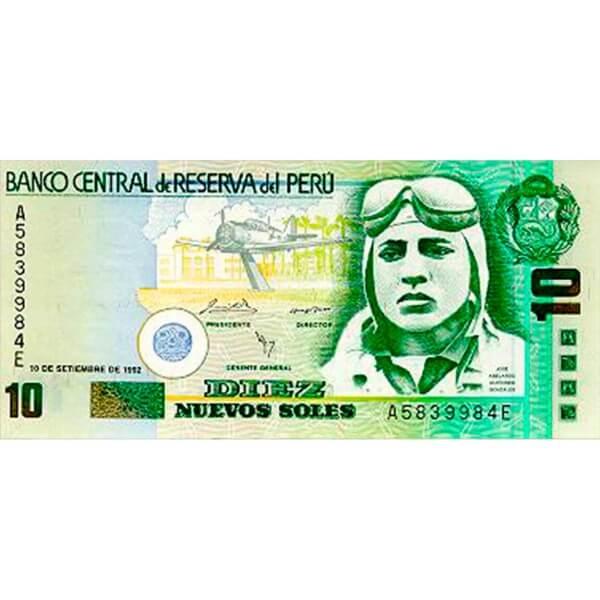 1992 - Perú P151A billete de 10 Nuevos Soles