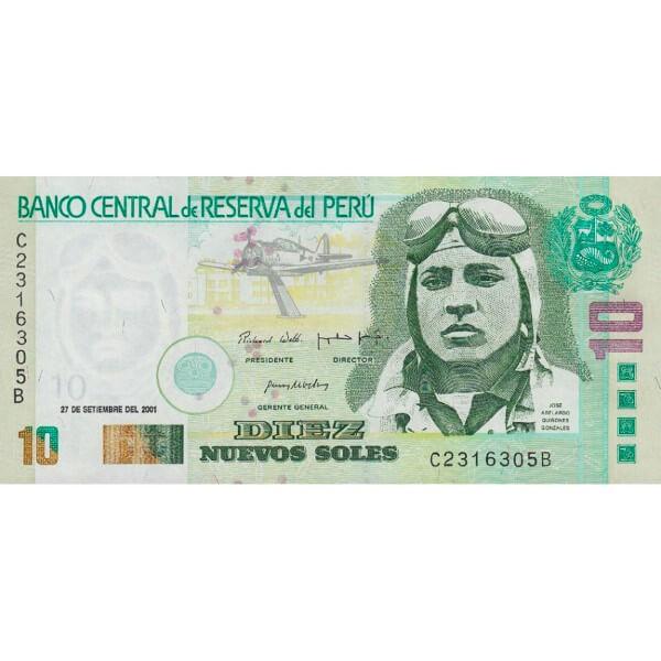 2001 - Perú P175a billete de 10 Nuevos Soles