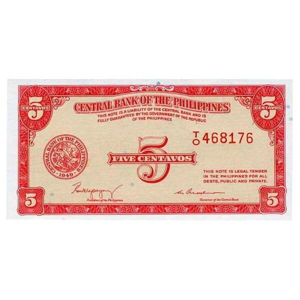 1949 - Filipinas P126a billete de 5 Centavos