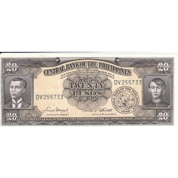 1949 - Filipinas P137d billete de 20 Pesos