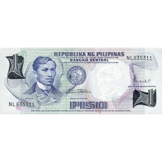 1969 - Philippines P142b  1Piso banknote
