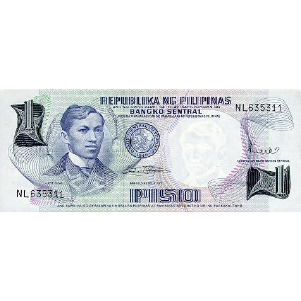 1969 - Filipinas P142b billete de 1 Peso