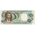 1969 - Filipinas P143b billete de 5 Piso