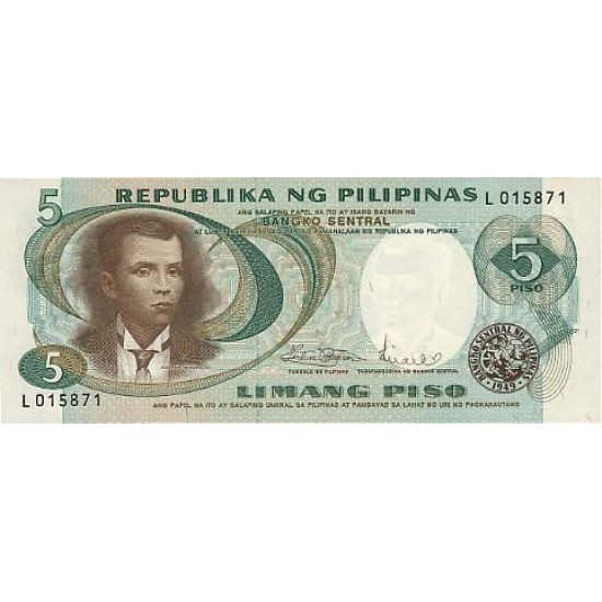 1969 - Philippines P143b  5 Piso banknote