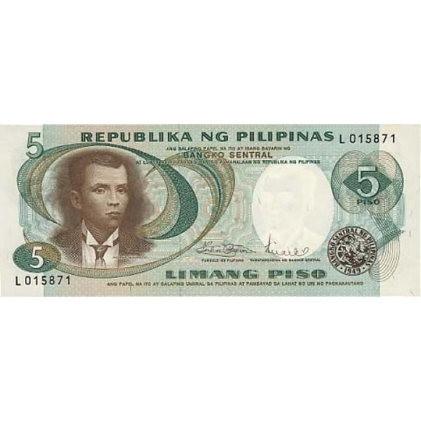 1969 - Filipinas P143b billete de 5 Piso