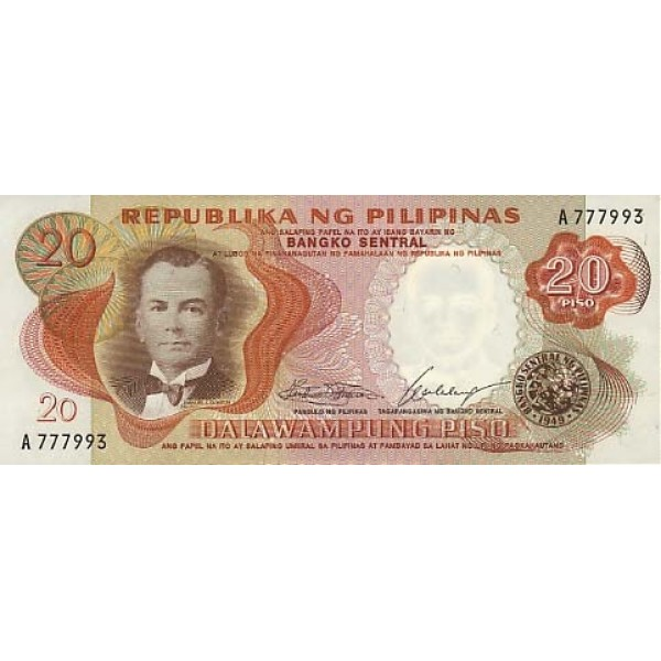 1969 - Filipinas P145a billete de 20 Piso