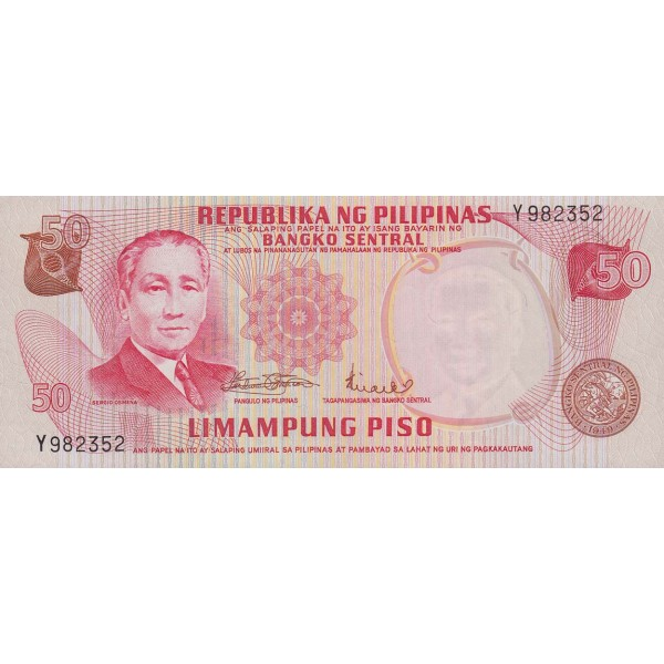 1969 - Filipinas P146b billete de 50 Piso
