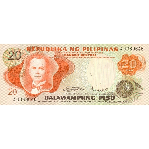 1970 - Filipinas P150 billete de 20 Piso