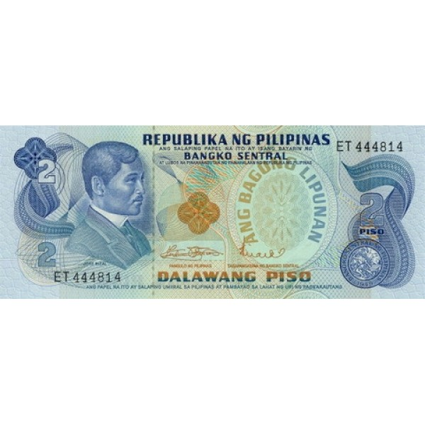 1970 - Filipinas P152a billete de 2 Piso