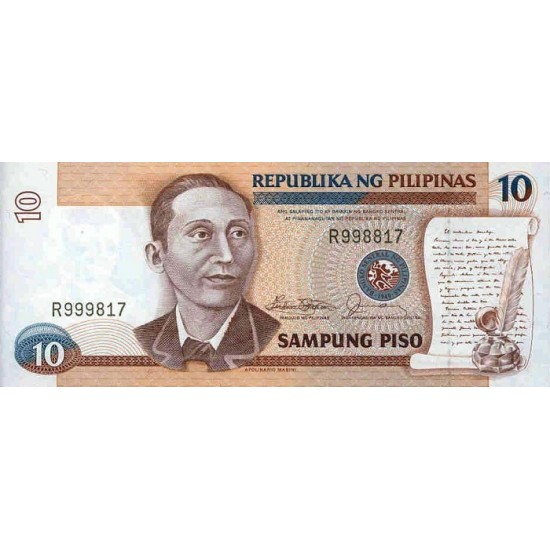 1985 - Philippines P169a   10 Piso banknote