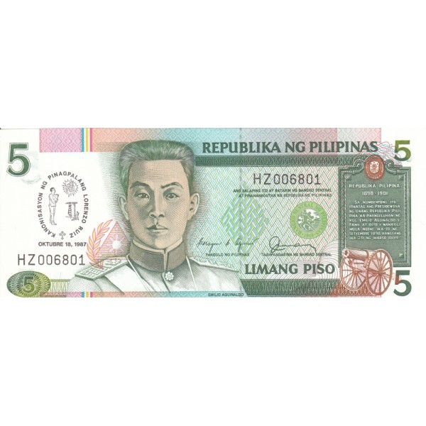 1987 - Philippines P176   5 Piso banknote