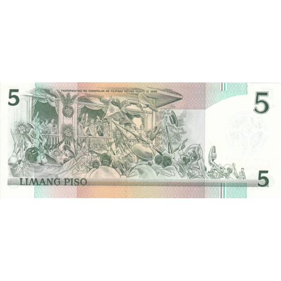 1986 - Philippines P179   5 Piso banknote