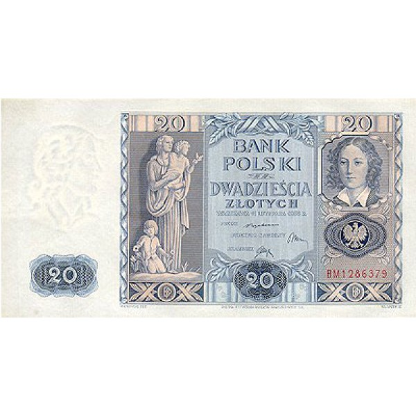 1936 - Poland PIC 77     20 Zlotych   banknote