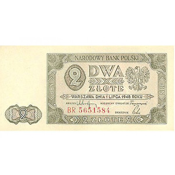 1948 - Poland PIC 134 c      2 Zlotych banknote