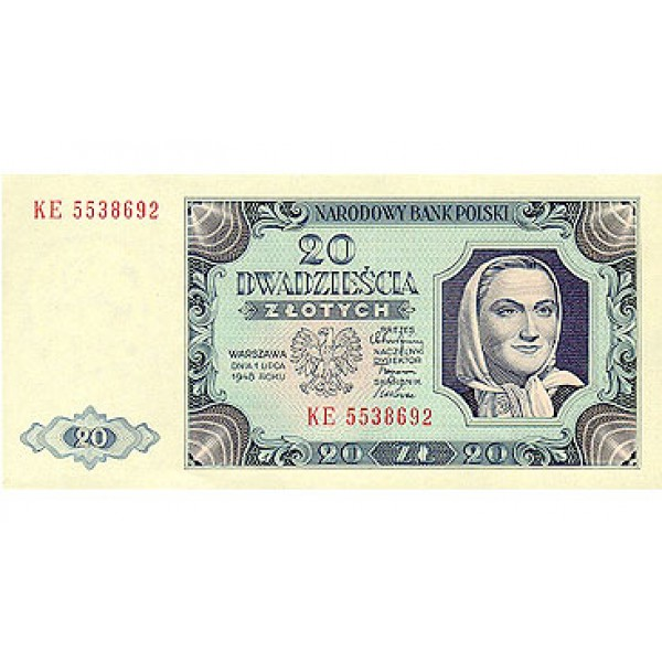 1948 - Poland PIC 137       20 Zlotych banknote