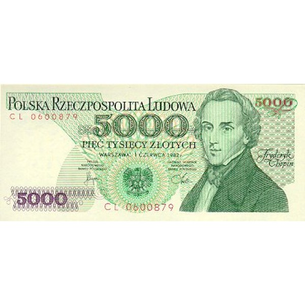 1988 - Poland PIC 150c      5.000 Zlotych banknote