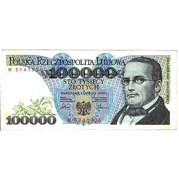 1990 - Poland PIC 154      100.000  XF   Zlotych banknote