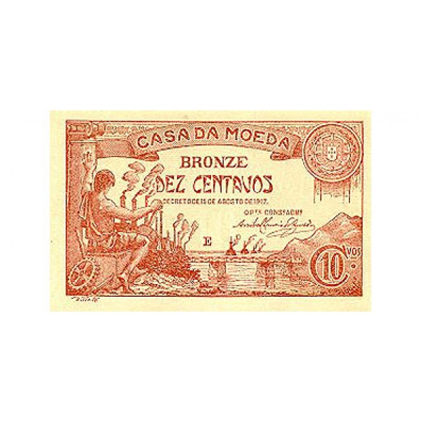 1917 - Portugal  Pic 96           10 Centavos banknote