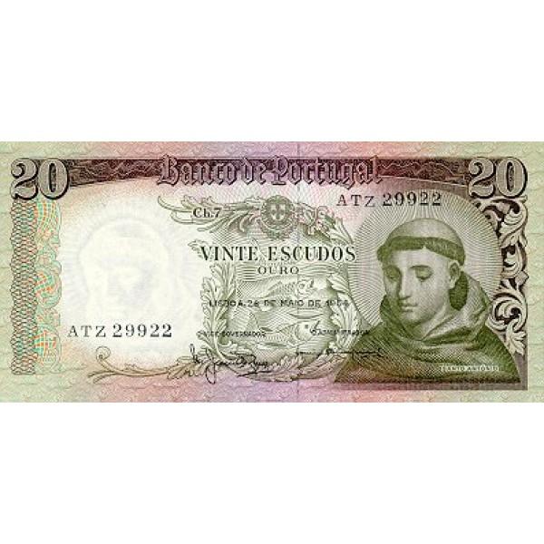 1964 - Portugal  Pic 167 a           20 Escudos   banknote