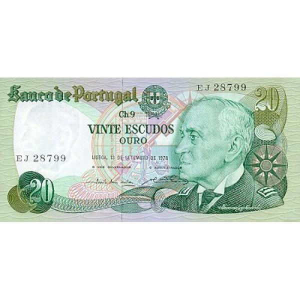 1978 - Portugal  Pic 176b          20 Escudos   banknote