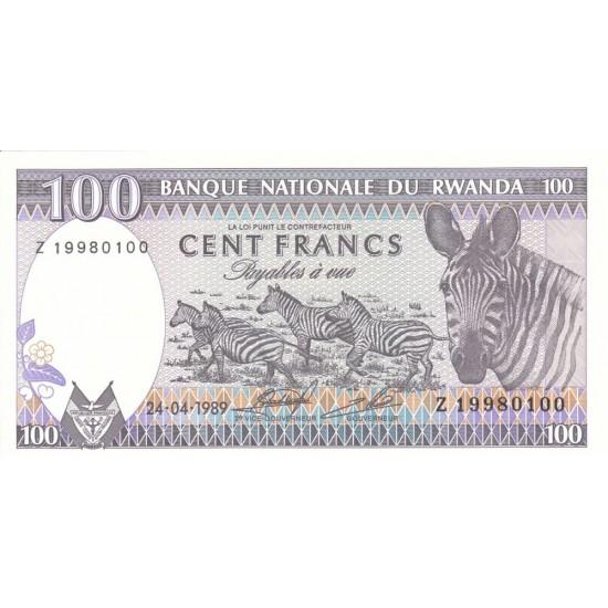 1989 - Rwanda PIC 19   100 Francs banknote