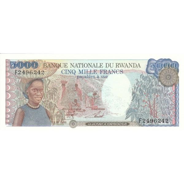 1988 - Ruanda pic 22 billete de 5000 Francos