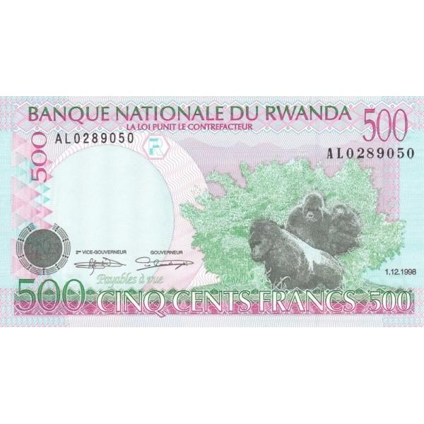 1998 - Rwanda PIC 26   500 Francs banknote