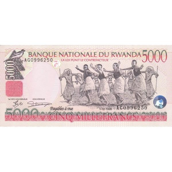 1998 - Rwanda PIC 28   5000 Francs banknote