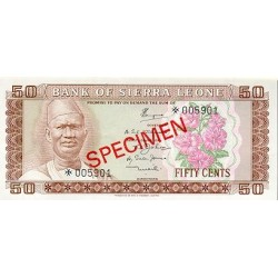 1979 - Sierra Leone Pic  4s   50 Cetns. banknote  Specimen
