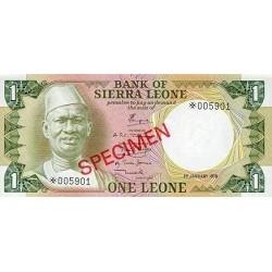 1979 - Sierra Leone Pic  5bs   1 Leone banknote  Specimen
