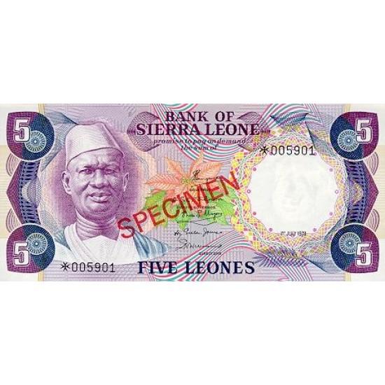 1979 - Sierra Leone Pic  7bs   5 Leones banknote  Specimen