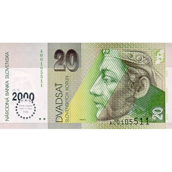 1993 -  Slovakia Pic 34   20 Korun banknote