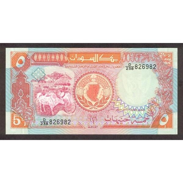1991 - Sudan pic 45 billete de 5 Libras