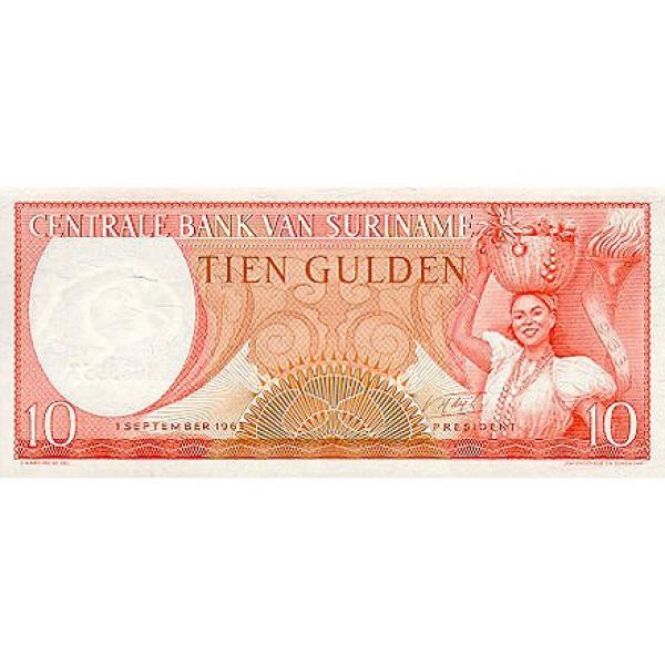 1963 - Suriname P121 10 Gulden banknote
