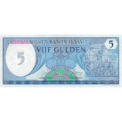 1982 - Suriname P125 5 Gulden banknote