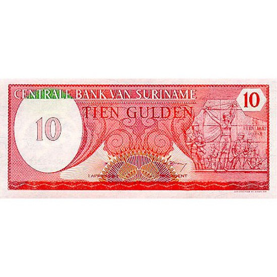 1982 - Suriname P126 10 Gulden banknote